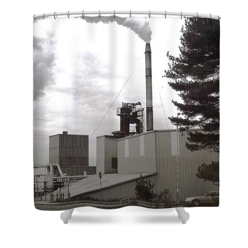 Black And White Photograph Shower Curtain featuring the photograph Smoke Stack by Thomas Valentine