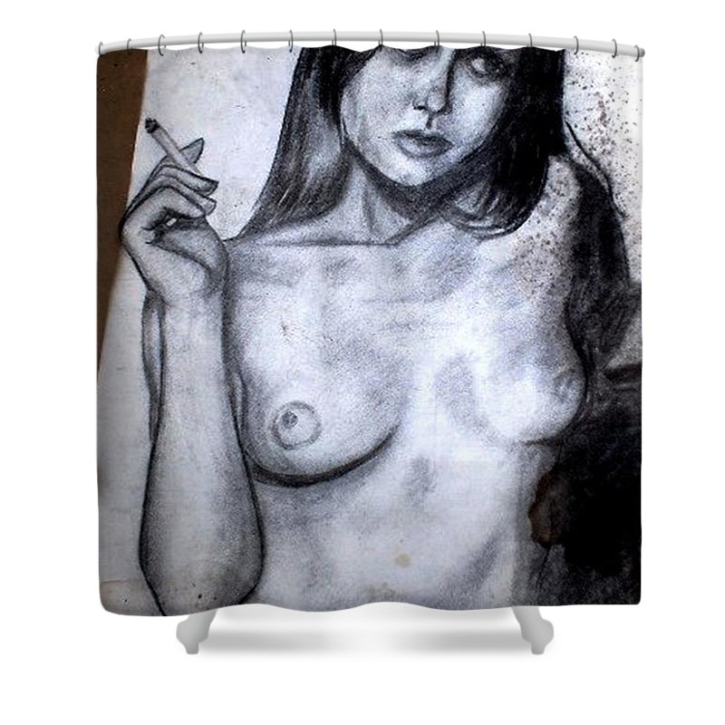 Nude Shower Curtain featuring the drawing Smoker by Thomas Valentine