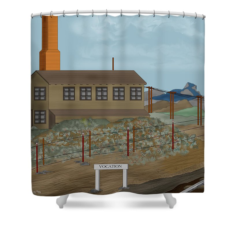 Camp Vocation Shower Curtain featuring the painting Smokestack And Heart Mountain At Camp Vocation by Anne Norskog