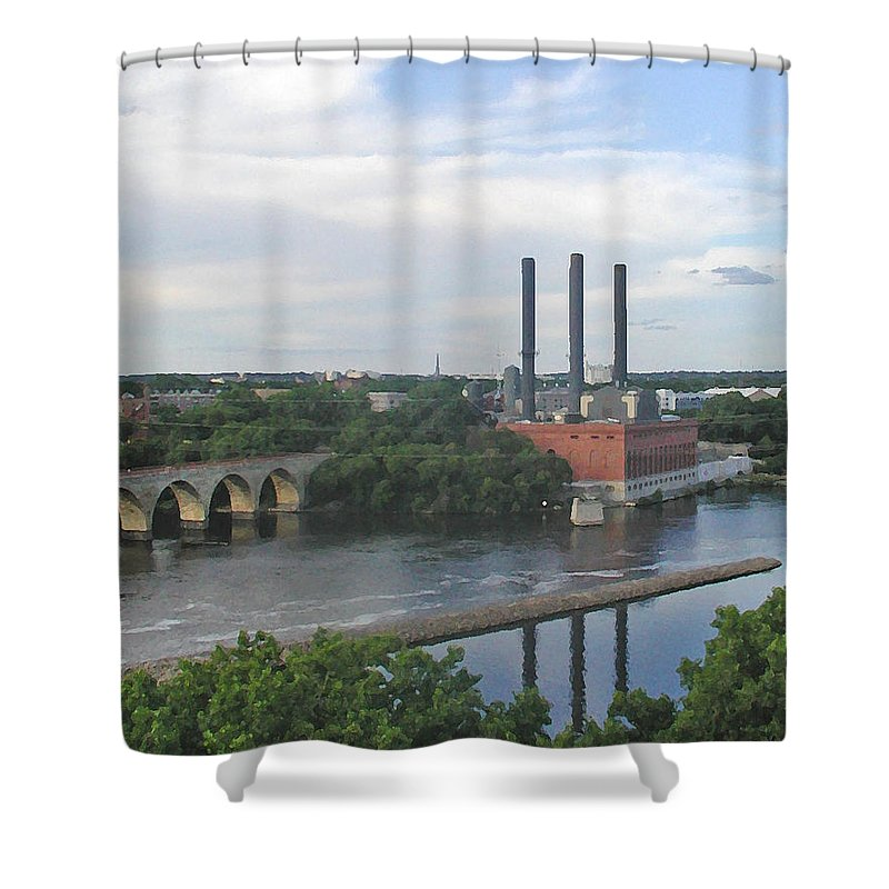 Minneapolis Shower Curtain featuring the photograph Smokestacks On The Mississippi by Tom Reynen