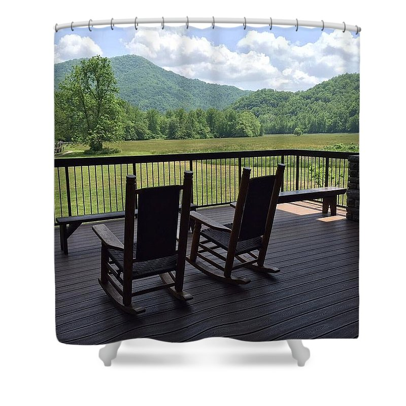 Smokeys Porch Rocking Chair Mountain Landscape Shower Curtain featuring the photograph Smokey Mountain Serenity by Anne Sands