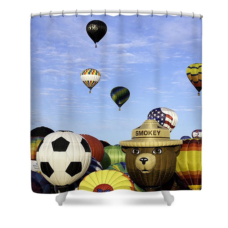 Hot Air Balloons Shower Curtain featuring the photograph Smokey The Bear by Mark Harrington