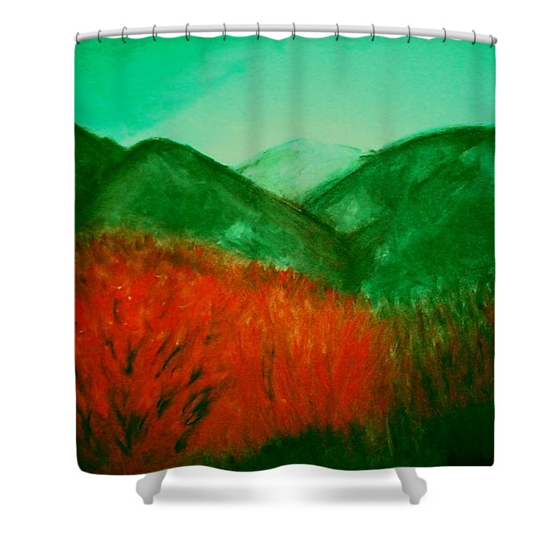 Mountains Shower Curtain featuring the pastel Smoky by Melvin Moon