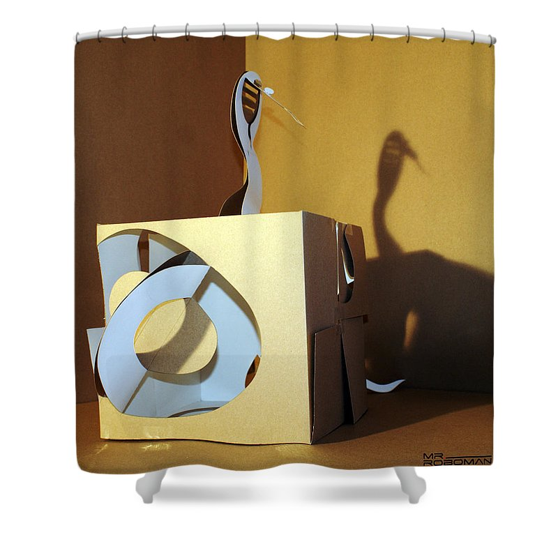 Mr Roboman Shower Curtain featuring the sculpture Snake 3 by Mr ROBOMAN