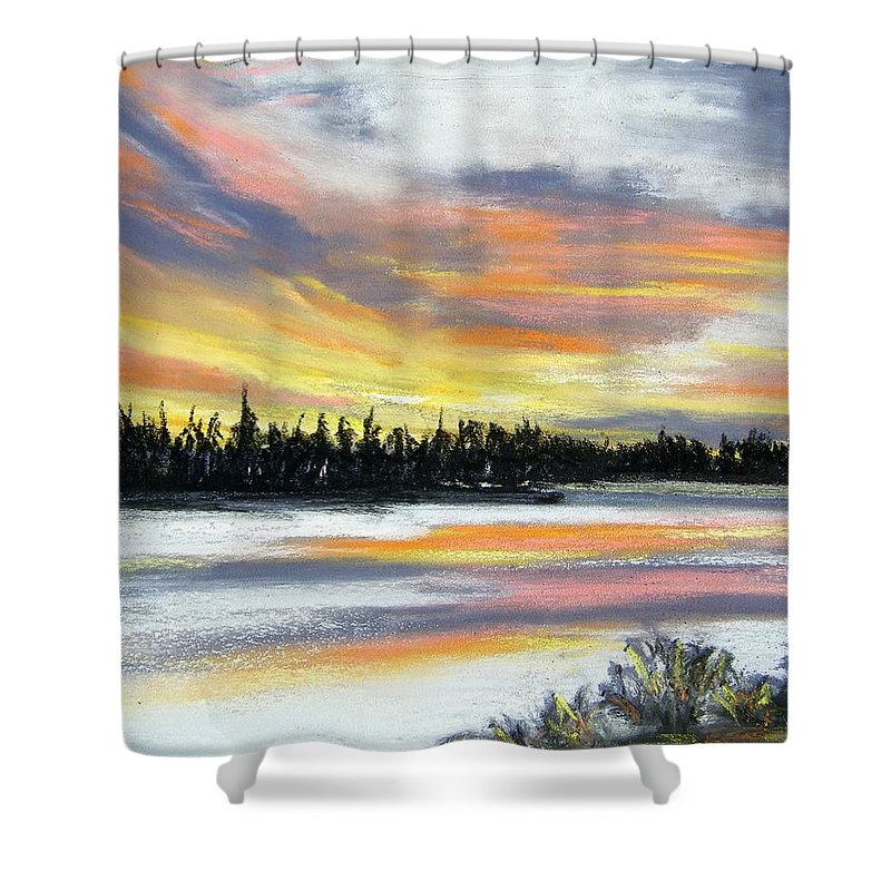 Sunset Shower Curtain featuring the pastel Snake River Sunset by Gale Cochran-Smith