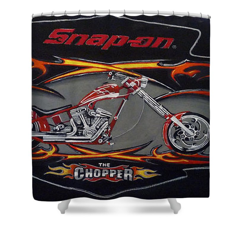 Bike Shower Curtain featuring the painting Snap-on Chopper by Richard Le Page