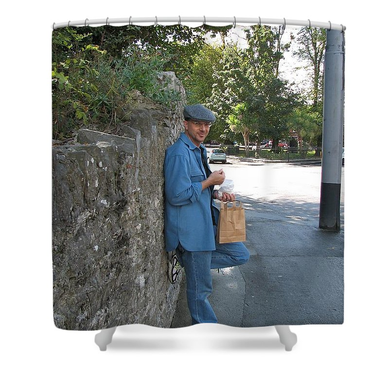 Hat Shower Curtain featuring the photograph Sneaking A Snack by Kelly Mezzapelle