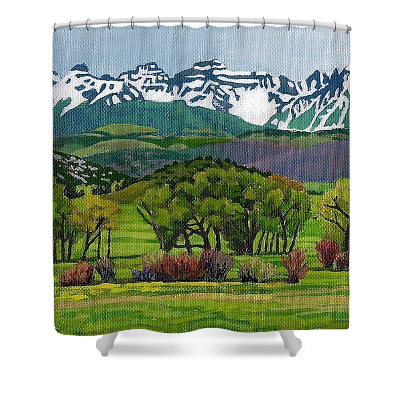 Art Shower Curtain featuring the painting Sneffels Range Spring Acrylic by Dan Miller