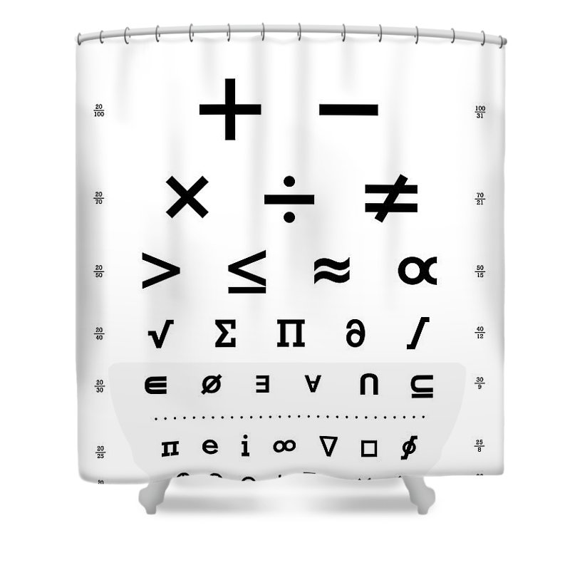 Snellen Chart Mathematical Symbols Shower Curtain For Sale By
