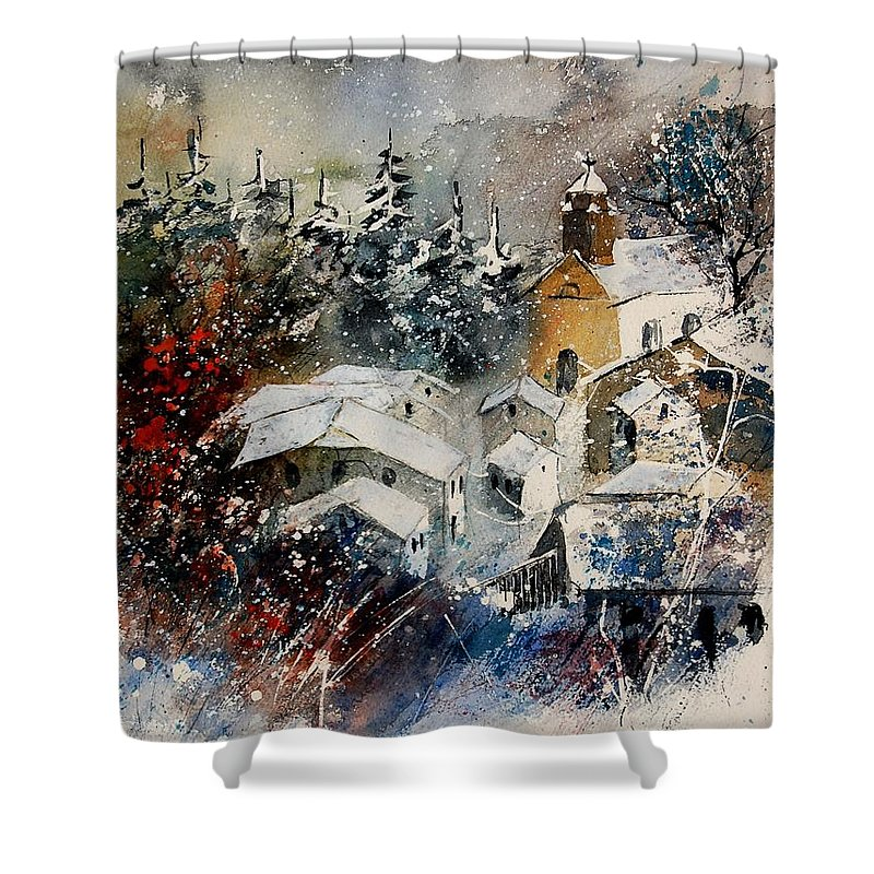 Landscape Shower Curtain featuring the painting Snon In Frahan by Pol Ledent
