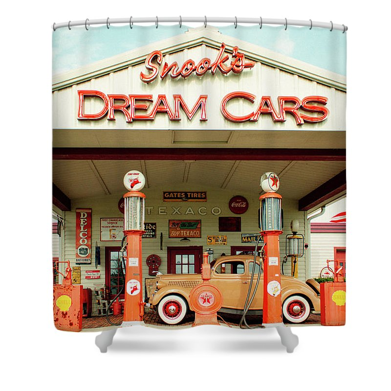 Americana Shower Curtain featuring the photograph Snook's Dream Cars by Andrew Weills