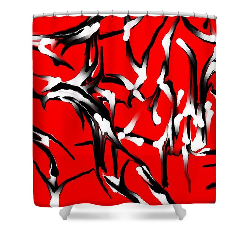 Abstract Shower Curtain featuring the digital art Snoopys Dance by David Lane