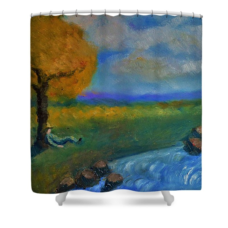 Landscape Shower Curtain featuring the painting Snoozing On A Warm Autumn Afternoon by Marla McPherson