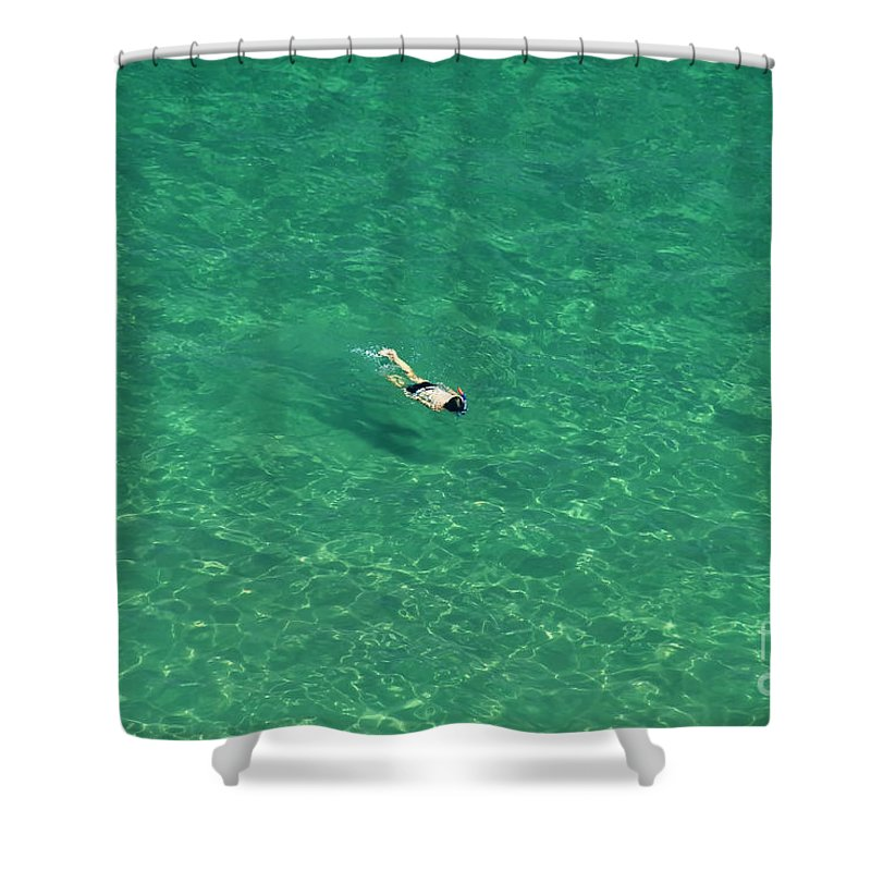 Snorkeling Shower Curtain featuring the photograph Snorkeling by David Lee Thompson