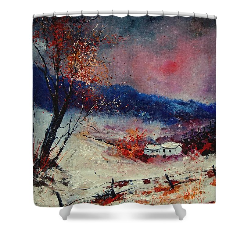 Winter Shower Curtain featuring the painting Snow 569020 by Pol Ledent