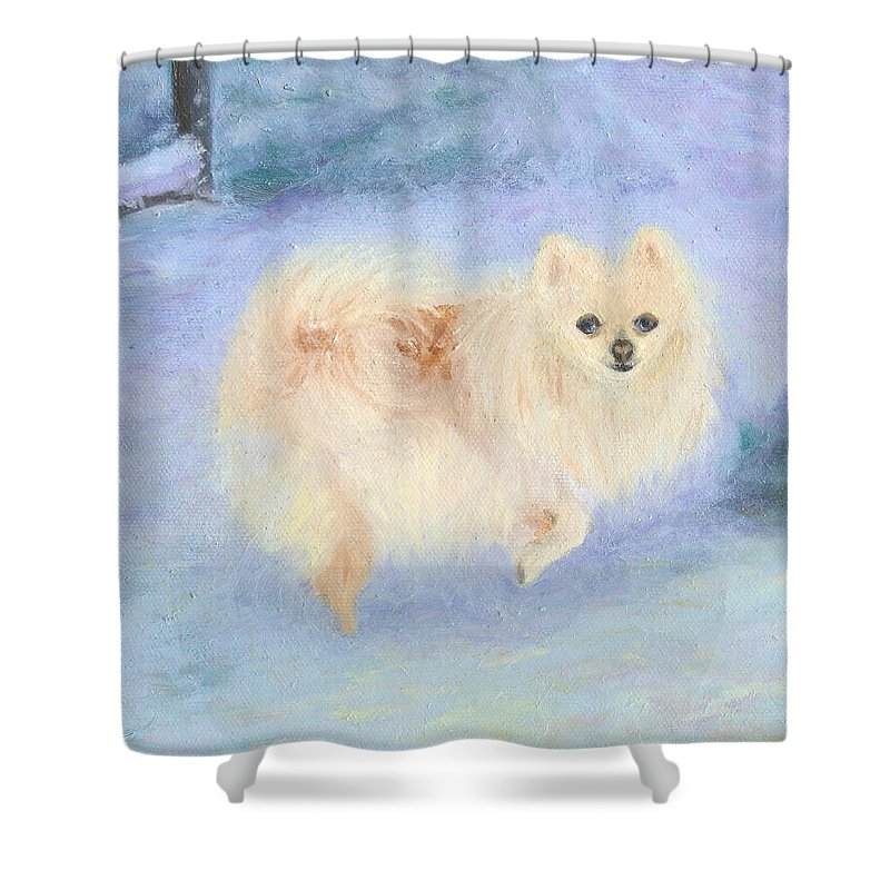 Dog Shower Curtain featuring the painting Snow Angel by Paula Emery