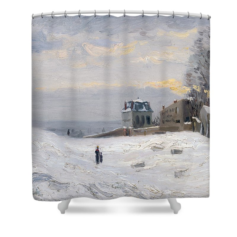 Snow Shower Curtain featuring the painting Snow At Montmartre by Hippolyte Camille Delpy