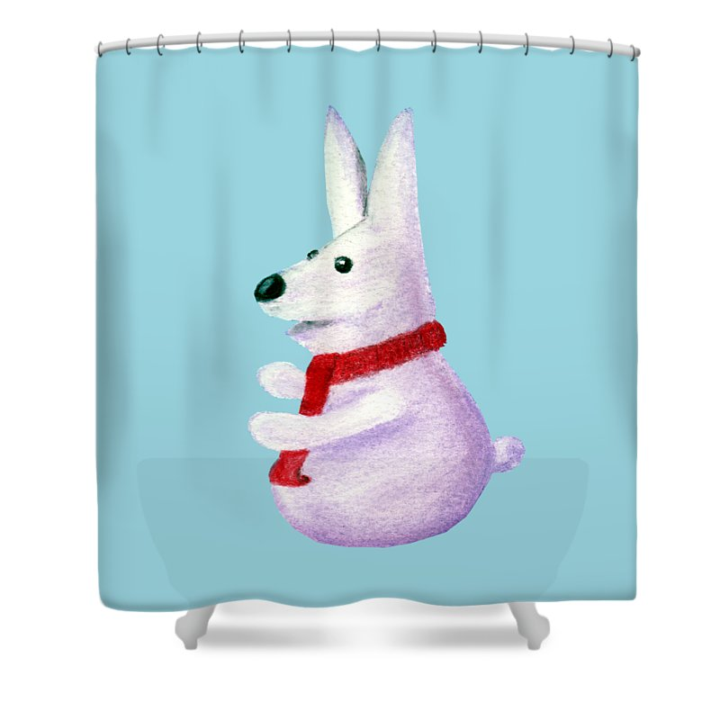 Snow Shower Curtain featuring the painting Snow Bunny by Anastasiya Malakhova