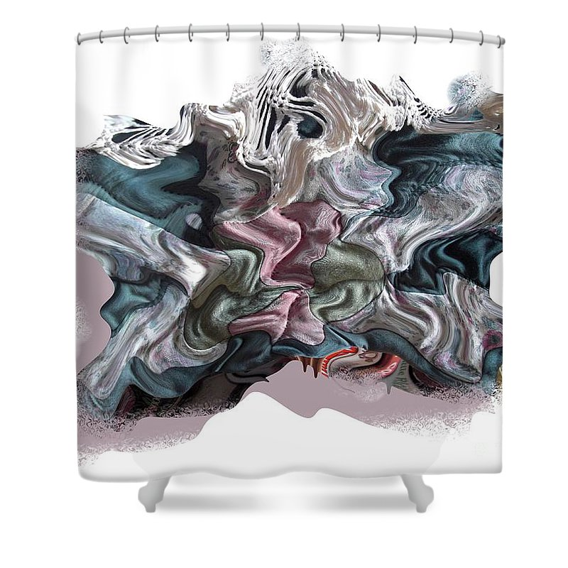 Abstract Shower Curtain featuring the digital art Snow Capped Cloth by Ron Bissett