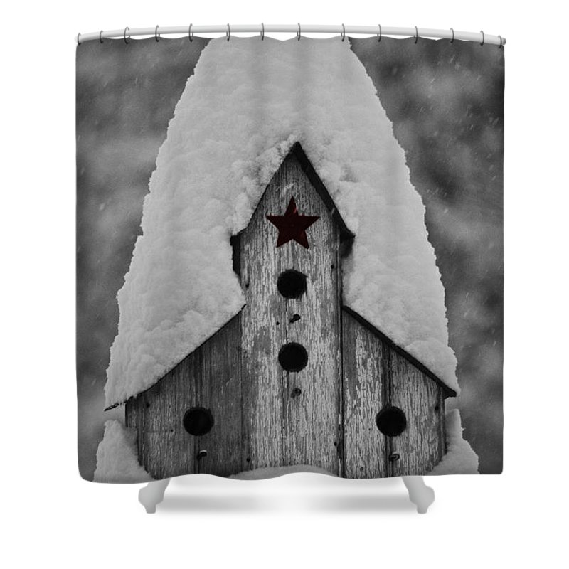 Snow Shower Curtain featuring the photograph Snow Covered Birdhouse by Teresa Mucha