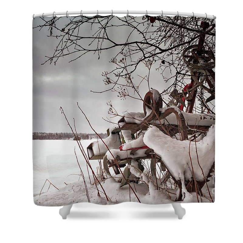 Copy Space Shower Curtain featuring the photograph Snow Covered Farming Equipment by Jukka Heinovirta