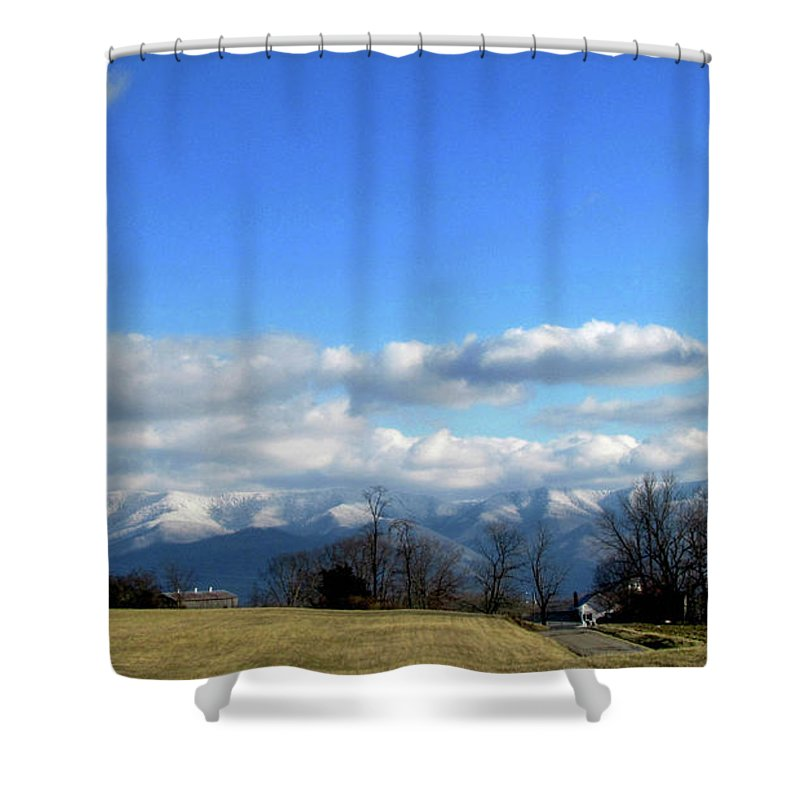 Sky Mountains Blue Snow Tennessee Winter Landscape Farm Country Shower Curtain featuring the photograph Snow Covered Mountains by Judy Baird