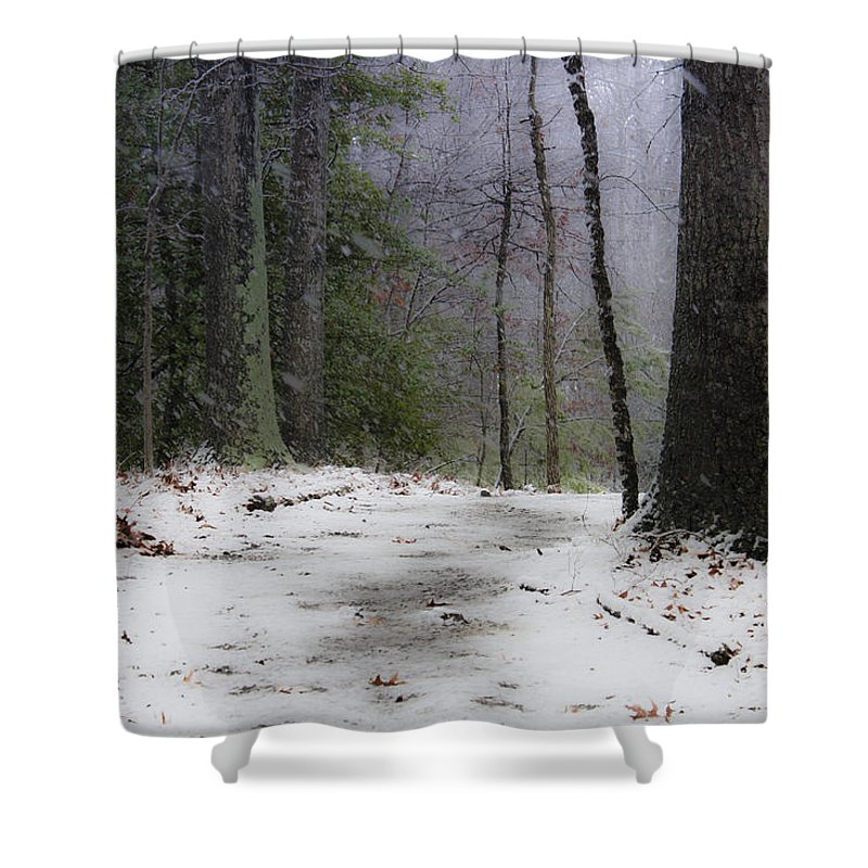 Snow Shower Curtain featuring the photograph Snow Covered Path Quantico National Cemetery by Teresa Mucha