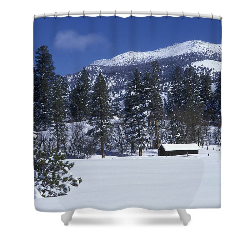 Nobody Shower Curtain featuring the photograph Snow Covered Trees And Cabin At Rock by Rich Reid