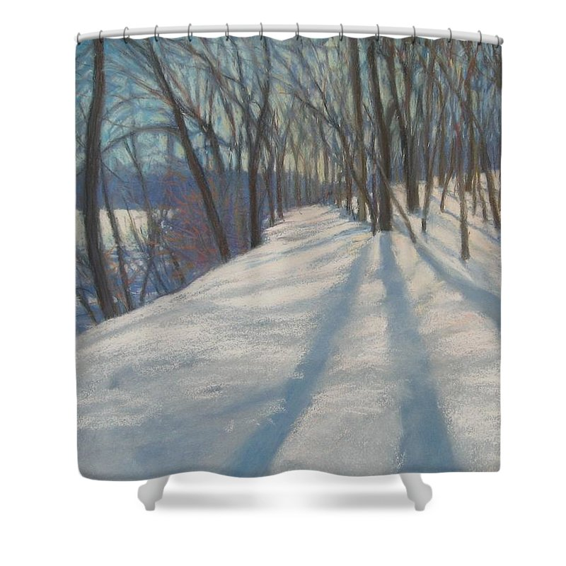 Mcgrath Shower Curtain featuring the painting Snow Day At Winnekini by Leslie Alfred McGrath