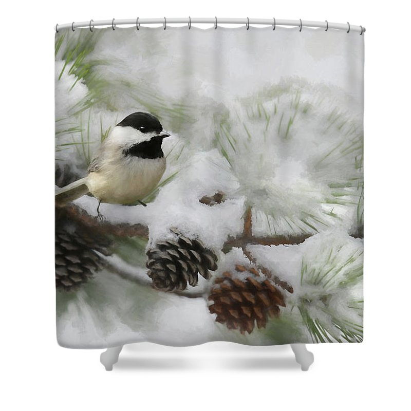 Bird Shower Curtain featuring the photograph Snow Day by Lori Deiter