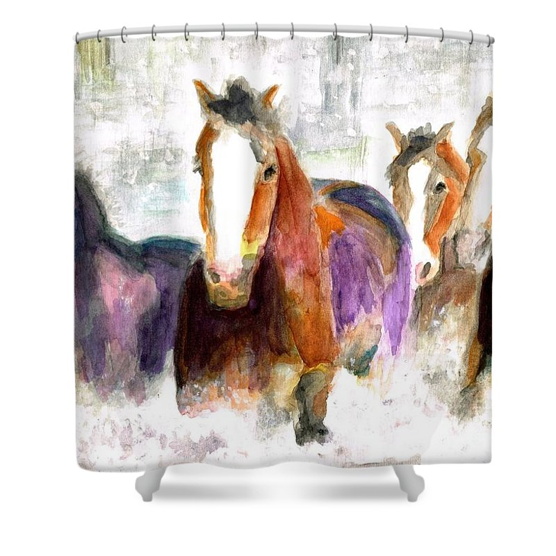 Horses Shower Curtain featuring the painting Snow Horses by Frances Marino