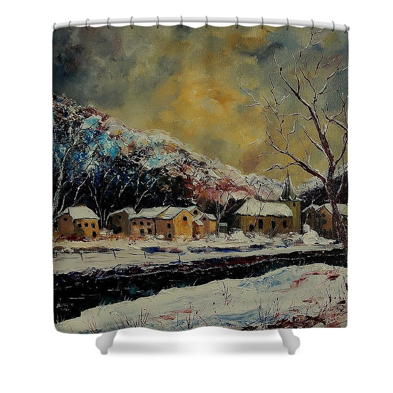 Winter Shower Curtain featuring the painting Snow In Bohan by Pol Ledent