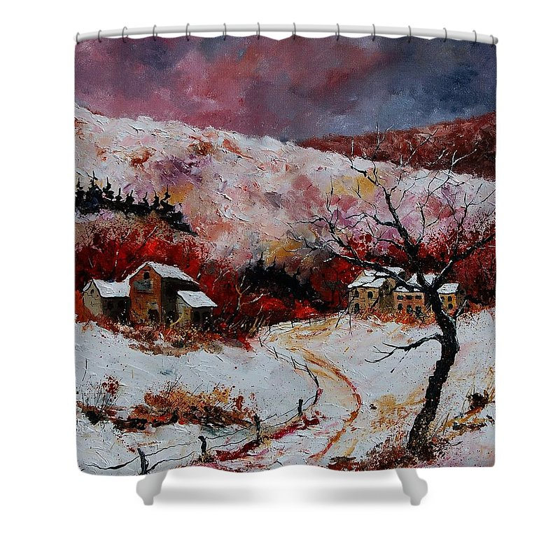 Snow Shower Curtain featuring the painting Snow In The Ardennes 78 by Pol Ledent
