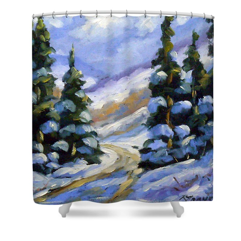 Art Shower Curtain featuring the painting Snow Laden Pines by Richard T Pranke