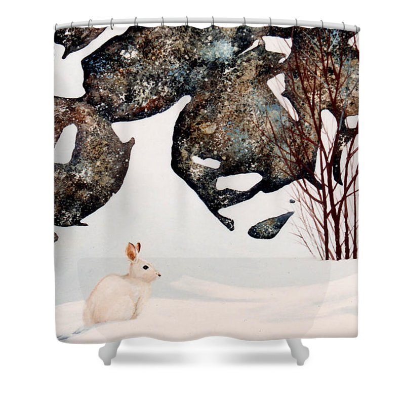Wildlife Shower Curtain featuring the painting Snow Ledges Rabbit by Frank Wilson