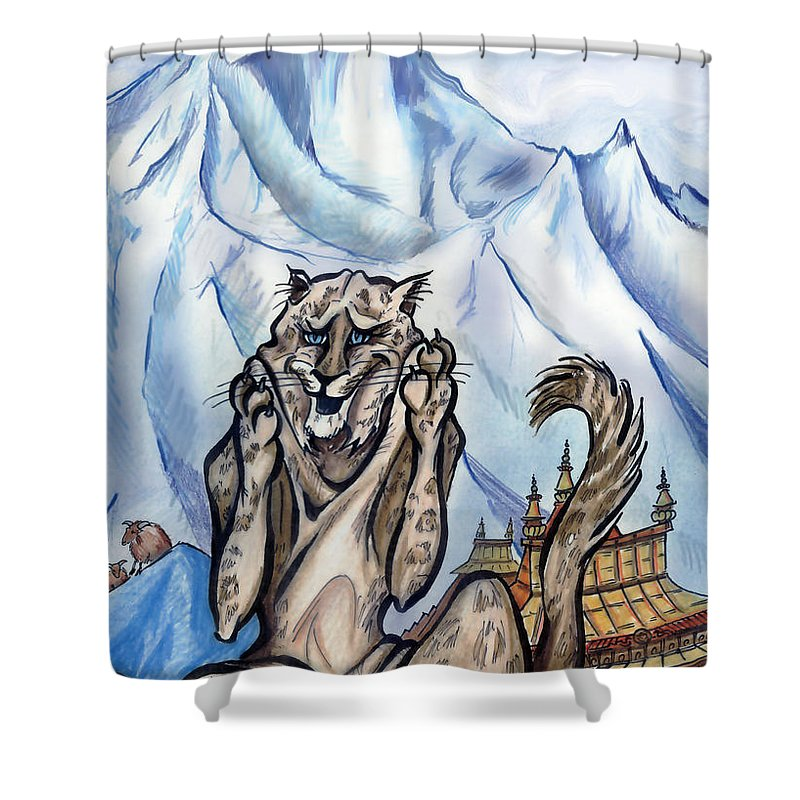 Ice Shower Curtain featuring the painting Snow Leopard by Kevin Middleton