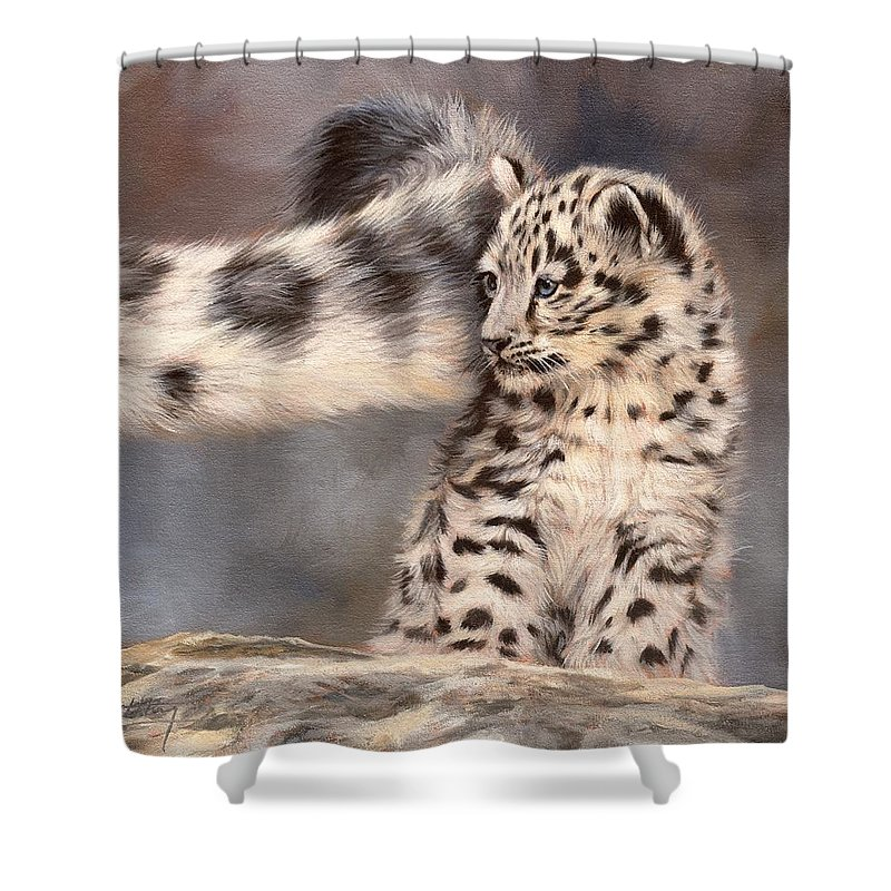 Snow Leopard Shower Curtain Featuring The Painting Tail By David Stribbling