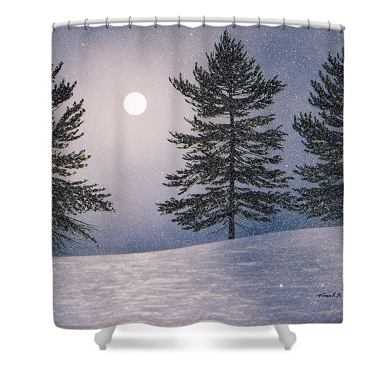 Mountains Shower Curtain featuring the painting Snow Light by Frank Wilson