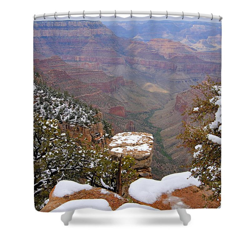 Grand Canyon National Park Shower Curtain featuring the photograph Snow On The Grand Canyon by Larry Ricker