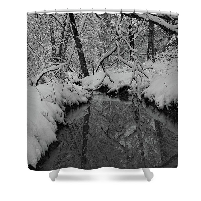 Snow Shower Curtain featuring the photograph Snowy River by Images By Paige