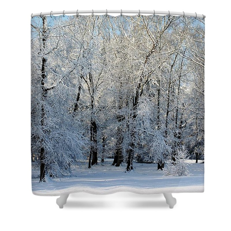 Snow Shower Curtain featuring the photograph Snow Scene One by Donna Bentley