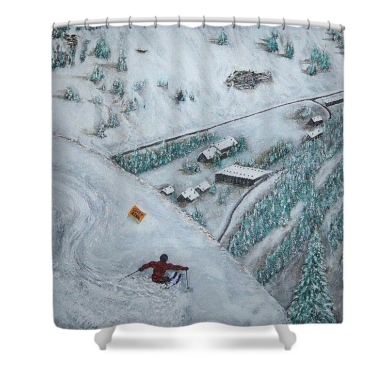Ski Shower Curtain featuring the painting Snowbird Steeps by Michael Cuozzo