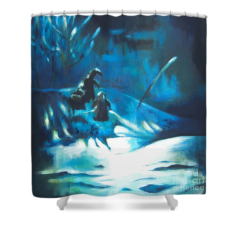 Lin Petershagen Shower Curtain featuring the painting Snowee by Lin Petershagen