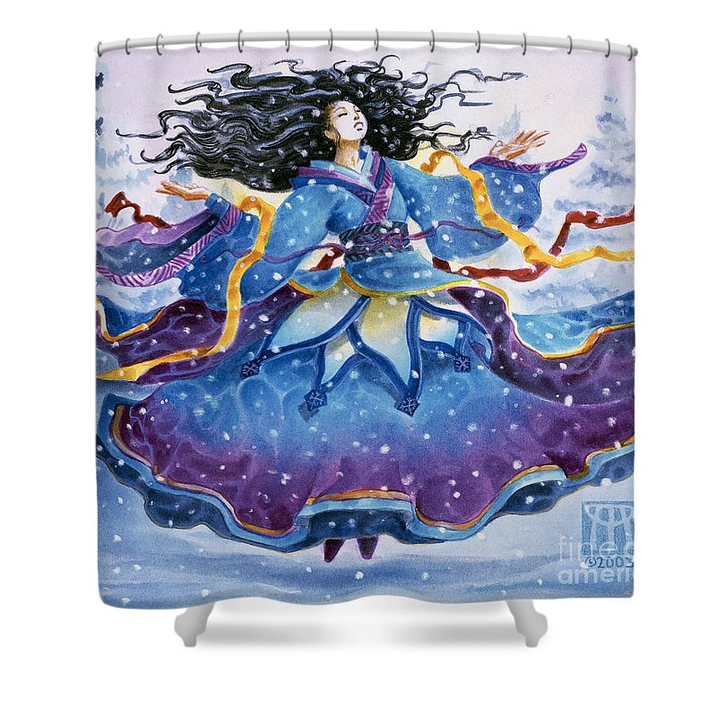 Snow Shower Curtain featuring the painting Snowfall by Melissa A Benson