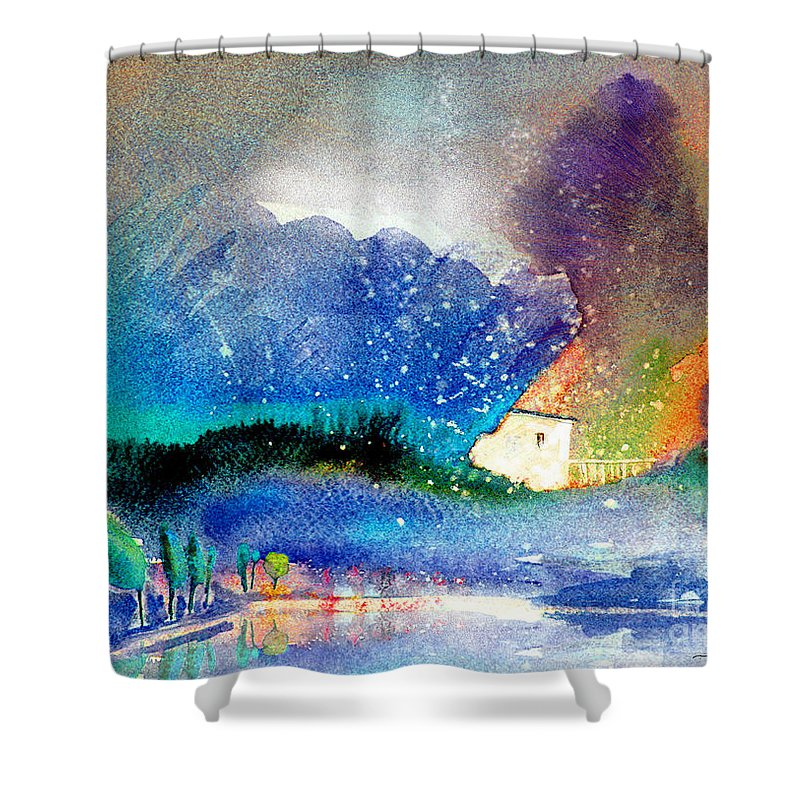 Watercolour Painting Spain Landscape Aquarelle Acuarela Impressionism Shower Curtain featuring the painting Snowing All Over Spain by Miki De Goodaboom
