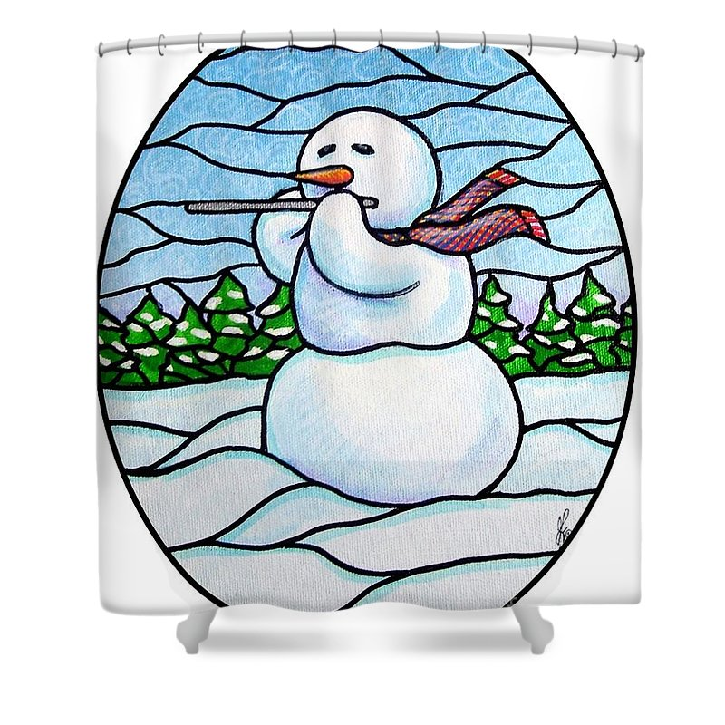 Snow Shower Curtain featuring the painting Snowman Flutist by Jim Harris