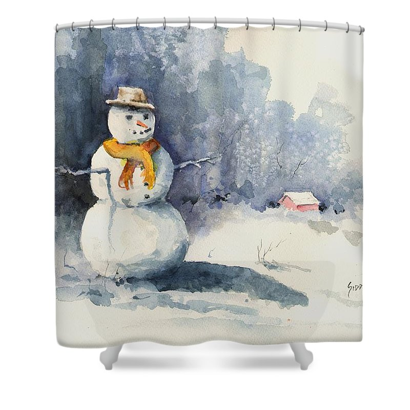 Snow Shower Curtain featuring the painting Snowman by Sam Sidders