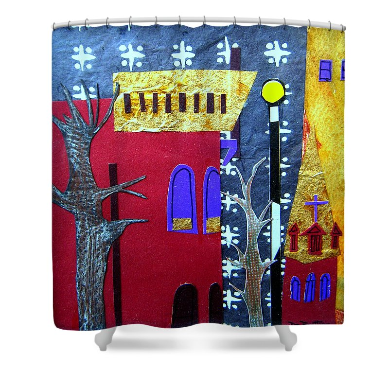 City Shower Curtain featuring the mixed media Snowstorm Backbay by Debra Bretton Robinson
