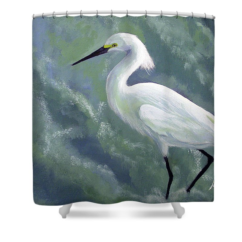 Egret Shower Curtain featuring the painting Snowy Egret In Water by Adam Johnson