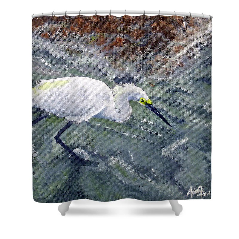 Egret Shower Curtain featuring the painting Snowy Egret Near Jetty Rock by Adam Johnson